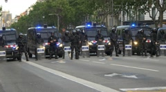 BARCELONA SPAIN: Police special forces machine guns people march Stock Footage