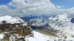 View of the valley from the top of Sass Pordoi in the Dolomites Stock Footage
