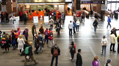 Zoom Out - Busy Oslo Central Train & Bus Station - Oslo Norway Stock Footage