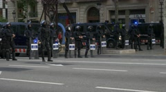 BARCELONA SPAIN  Police special forces machine guns people march Stock Footage