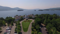 Aerial of beautiful Sagamore resort near Lake George Stock Footage