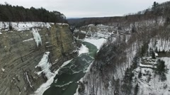 Aerial of beautiful Letchworth State Park during winter Stock Footage