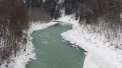 View of beautiful Genesee River in Letchworth State Park during winter Stock Footage