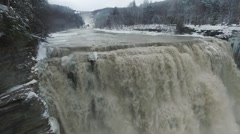 View of Middle Falls of the Genesee River in Letchworth State Park Stock Footage