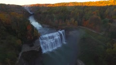 Aerial of Middle Falls of the Genesee River in Letchworth State Park Stock Footage