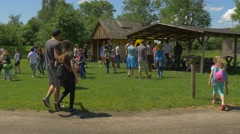 Adults and Children During a Tour of the Park Old Architecture in Poland Stock Footage