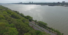 New York City West Side Highway Hudson River Stock Footage