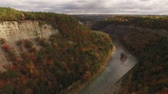 Aerial of beautiful Letchworth State Park during autumn Stock Footage