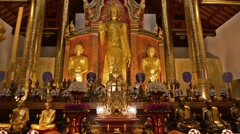 Buddha in Wat Chiang Man. Camera movement. Zoom out. Stock Footage