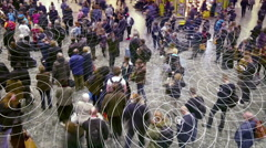 Cell phone radio signals in a crowd of people. Stock Footage