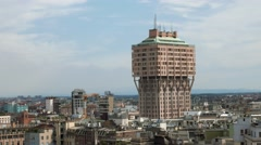 Milan, Italy: Panorama shot Torre Velasca tower panoramic view - stock footage