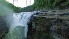 Aerial of Middle Falls in Letchworth State Park Stock Footage