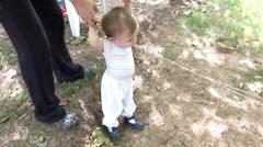 Baby boy walking - steady-cam III - stock footage
