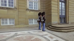 Royal Life Guards in front of Amalienborg Palace, Copenhagen, Denmark, Europe Stock Footage