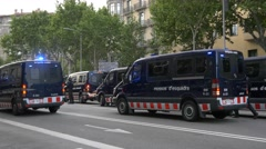BARCELONA SPAIN : Police special forces machine guns people march Stock Footage