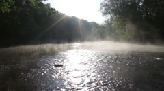 Morning river steam wide shot Stock Footage