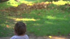 Baby Girl In Baby Stroller Outdoors 02 Stock Footage