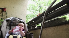 Baby Girl In Her Stroller - stock footage