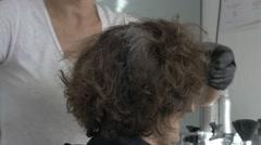 Stylist hairdresser color hair roots cut wash basin salon woman treatment - stock footage