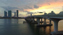Drone Flying Towards Sunset in Miami Low to High in 4K Stock Footage