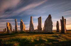 Callanish stones in sunset light, Lewis, Scotland Stock Photos