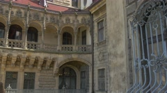 Moszna Castle People Look at Carved Balcony Eclectic Styled Building Courtyard Stock Footage