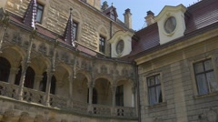 Moszna Castle Balcony Eclectic Styled Palace Courtyard Blue Sky Baroque Styled Stock Footage