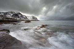 Stormy weather at Flaget coastline, Lofoten - stock photo