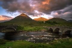 Three bridges in Sligachan on Isle of Skye in sunset light, Scotland - stock photo