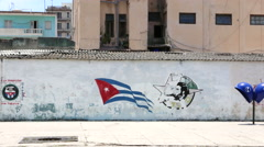 Havana Cuba Young Communist League Graffiti Bus - stock footage