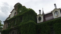 Building House Part of the Moszna Castle Overgrown With Creeping Plant Park Stock Footage