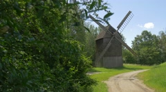 Windmill Rural Landscape in Ethnographic Museum Cottages in Park of Old Polish Stock Footage