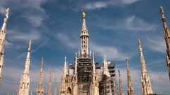 Milan, Italy – May 2016: Duomo cathdedral statue hyperlapse Stock Footage