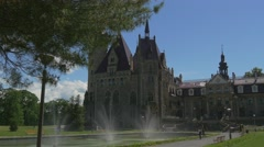People at Excursion Moszna Castle Fountain Eclectic Styled Building Park Lawns Stock Footage