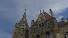 Moszna Castle Eclectic Styled Building Courtyard Blue Sky Baroque Styled Palace Stock Footage