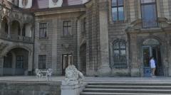 Moszna Castle Facade Lions Statues Near Entrance Eclectic Building Park Lawns Stock Footage