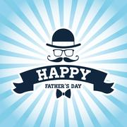 Happy Fathers day design. vintage icon. Colorful illustration - stock illustration