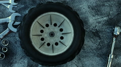 4k composition of car parts . Mechanic art Stock Footage