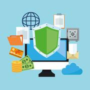 Internet security design. System icon. Colorful illustration , vector - stock illustration