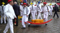 Cheese Market Weigh and Sale, Alkmaar, Netherlands, 4K  Stock Footage