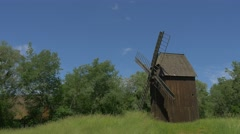 One Wooden Windmill on the Meadow Stock Footage