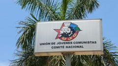 Young Communist League Havana Cuba Sign Stock Footage