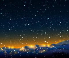 Night winter  landscape with snow - stock illustration