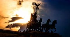 4K, Time Lapse, Quadriga At Sunset, Brandenburg Gate, Berlin Stock Footage