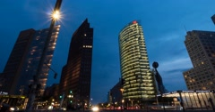 4K, Time Lapse, Potsdamer Platz At Night, Berlin - stock footage