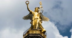 4K, Time Lapse, Close Up Onto Victoria, Victory Column, Berlin Stock Footage