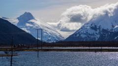 Timelapse: flog covering glacier in Alaska Stock Footage