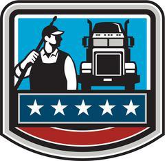 Pressure Washer Worker Truck Crest USA Flag Retro - stock illustration
