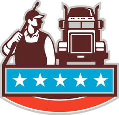 Pressure Washer Worker Truck USA Flag Retro - stock illustration