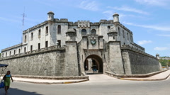 Havana Old Building Fortress Style Stock Footage